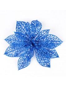 10Pcs Christmas Glitter Hollow Flower Decoration Flowers for Christmas Trees New Year Decorations