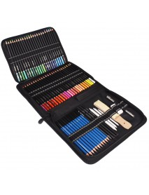 95Pcs Colored Pencil Set Sketch Soft Core Professional Art Supplies for Adults Artist Drawing Coloring with Carrying Bag