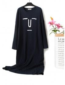 Cartoon Emoticon Print Cotton Leisure Short Sleeve Nightgown