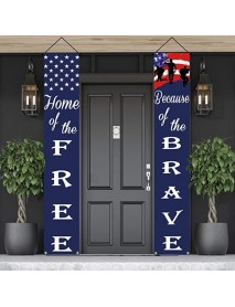 180x30cm American Patriotic Independence Day Decor Banner Flag Porch Front Door Curtain Party Decoration Stars Flag Couplets