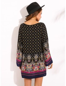 Elegant Women Tribal Baroque Print Dress