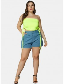 Plus Size Fashion Fluorescent Green Off Shoulder Tube Top