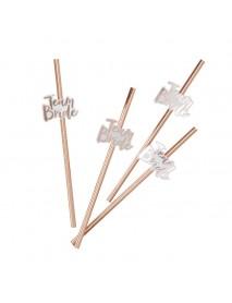10pcs Team Bride Straws Rose Gold DIY Craft with Letter Hen Bachelorette Wedding Decorations