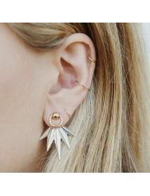 5Pcs Leaf Geometric Earring Set Gold Rings Ear Clip Jewelry Gift for Girls Women