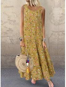 Bohemian Sleeveless O-neck Floral Print Maxi Dress