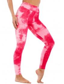Tie-dye Print High Waist Slim Sport Yoga Casual Leggings For Women