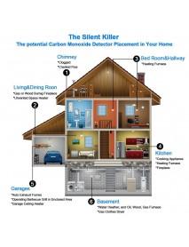2 in 1 Carbon Monoxide & Smoke Alarm Detector CO Tester Alarm System