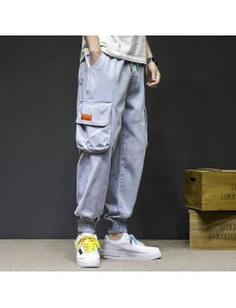 19 Seasons New Japanese Large Size Male Original Big Pocket Tooling Nine Points Pants Feet Jeans Loose Harem Pants