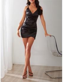 Black V-neck Crossed Front Sling Mini Wrap Dress