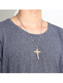 Trendy Silver Gold Men Cross Necklace Stainless Steel Charm Necklaces
