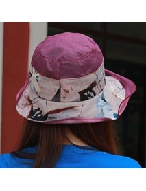 Ethnic Style Silk Breathable Sun Hat Women Vintage Wide Brimmed Beach Bucket Hat