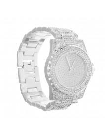 DEFFRUN Luxury Diamond Crystals Smooth Surface Women Quartz Watch