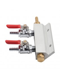 2 Way CO2 Gas Distribution Block Manifold With 7mm Hose Barb Wine Making Tools Draft Beer Dispense