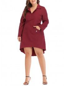 Women Brief Work Style Long Sleeves Irregular Hem Dress with Button