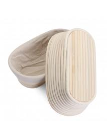 2PCS Rising Long Oval Bread Banneton Brotform Dough Proving Proofing Rattan Bask Storage Baskets