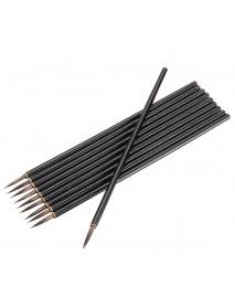 10PCS Rat Beard Oil Paint Brush Wood Handel Different Size Hook Line Pen For Acrylic Painting Art