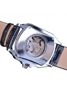 Forsining GMT911 Fashion Men Watch Hollow Engraving Design Leather Strap Mechanical Watch