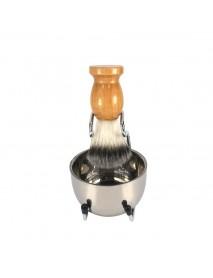 Beech Handle Shaving Suit For Men Personal Care Nylon Shaving Brush Holder Stainless Steel Brush Set Cleaning Brushes