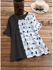 Cartoon Cat Print Frog Button Short Sleeved Casual T-shirts For Women