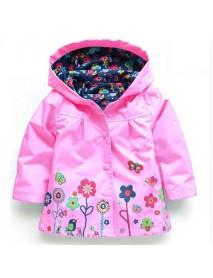 Kid Girls Floral Printed Full Sleeve Hooded Waterproof Trench Coat