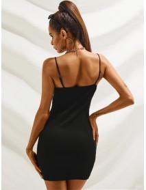 European Slim Front buckle Button Sleeveless Sling Wrap Dress