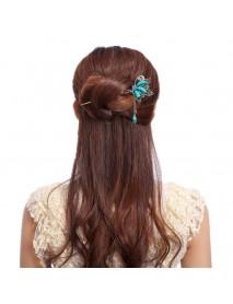 Unique Women Hair Accessories Vintage Butterfly Rhinestone Turquoise Tassel Hairpin
