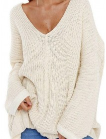 Oversized Daily Casual V-neck Batwing Sleeve Knit Sweaters for Women