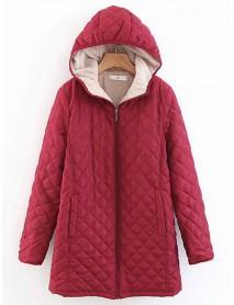 Casual Hooded Cotton Zipper Long Coats for Women