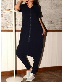Kvinnor Casual Short Sleeve Zipper Hooded Baggy Jumpsuit