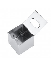 Chrome Coloured Cube Square Tissue Box Holder Cover Box Napkin Bathroom Organizer