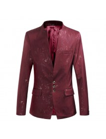 Men's Casual Slim Fit Single Breasted Stand Collar Printing Blazers Suits