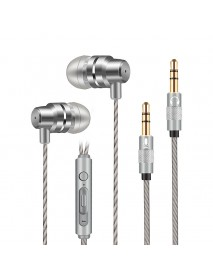 3.5mm Stereo Audio In-Ear Wire-Control Earphone With Microphone Grey for Computer Game