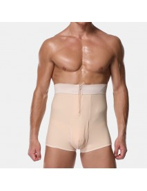 Mens Body Building High Wasit Zipper Abdomen Control Fat Burning Shapewear