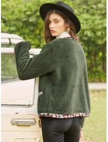 Casual Fleece Patch Long Sleeve Jacket For Women