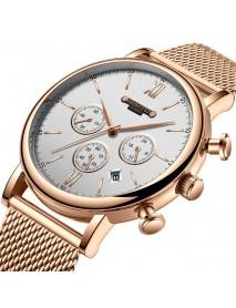 GIMTO GM246 Men Watch Calendar Chronograph Watch Stainless Steel Strap Quartz Watches