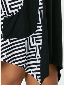 Asymmetrical Labyrinth Pattern Casual Blouse