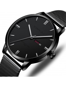CRRJU 2168 Fashion Mesh Steel Date Week Luminous Display Casual Simple Dial Men Quartz Watch