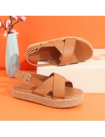 Big Size Women Weaving Cross Flat Platform Peep Toe Sandals