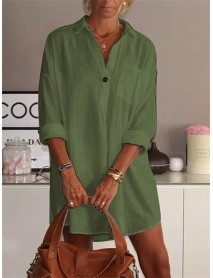 Solid Color Turn-down Collar Long Sleeve Pocket Shirt Dress