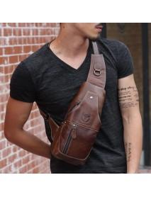 Bullcaptain Men Genuine Leather Business Casual Brown Black Shoulder Crossbody Bag