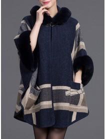 Autumn Winter Thick Shawl Print Cloak 3/4 Sleeve Elegant Coats