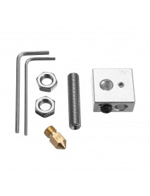 0.4mm Brass Nozzle + Aluminum Heating Block + 1.75mm Nozzle Throat 3D Printer Part Kit with M6 Screw