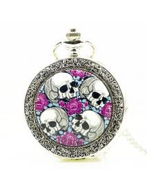 DEFFRUN Creative Rose Skull head Silver Quartz Pocket Watch Antique Pendant