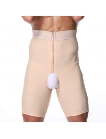 Men High Waist Slimming Underwear Zipper Fly Crotchless Body Control Loss Fat Burner Underwear