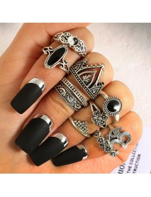 10Pcs Bohemian Statement Ring Set Vintage Crown Star Moon Flower Knuckle Rings for Women