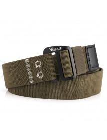120 Men Aluminum 9 Word Buckle Nylon Elastic Belt Outdoor Woven Canvas Belt