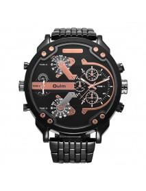 OULM 3548 Unique Design Full Steel Men Wrist Watch Three Time Zones Quartz Watches
