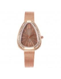 Crystal Case Triangle Dial Simple Design Full Stell Mesh Belt Women Quartz Watch
