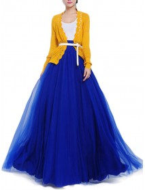 Bow Belt Solid Color Mesh Tulle Pleated High Waist Women Maxi Skirt