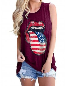 America Flag Tongue Printed Independence Day Loose O-neck Tank Tops For Women